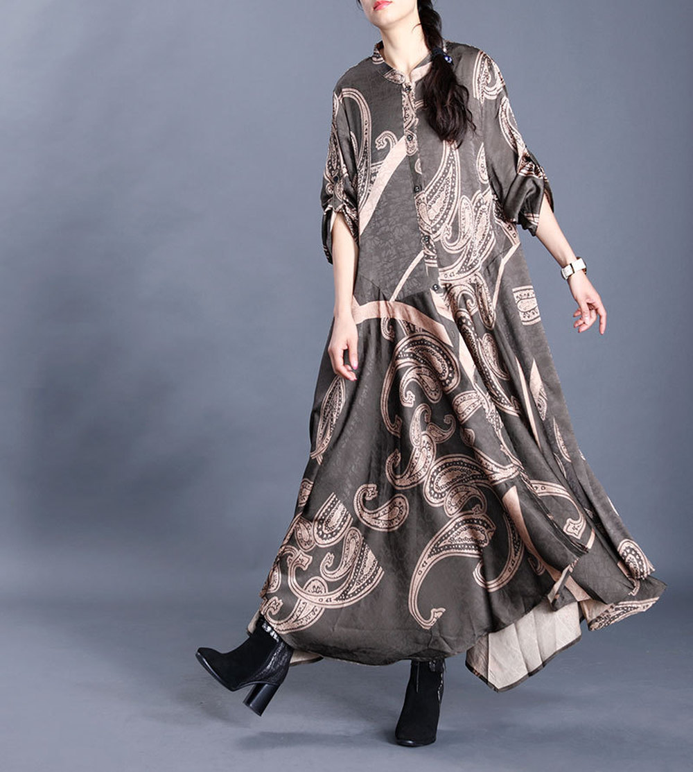 Chinese Style Elegant Female Silk Coat Fashion Stand Collar Single Breasted Retro Printing Nine Point Sleeve Simple Long Trench
