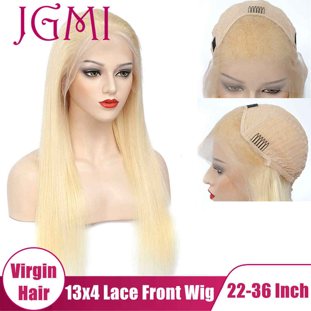 Jgmi em linha reta 613 loira virgem cabelo humano 13x4 hd laço transparente frontal frente bob perucas com cabelo do bebê para preto loira