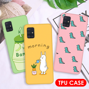 For Samsung Galaxy A51 A71 Phone Case Cartoon Soft Silicone Frosted Back Cover For Samsung A 51 A 71 A515 A715 Candy Color Coque