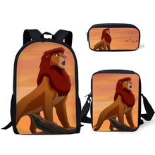 HaoYun Children's School Backpack Cartoon The Lion King Pattern School Book Bags Little Animal Designer 3PCs Set Students Bags lexpb little explorers b school play the big book
