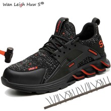 Wan Leigh Huw S fashion Work boots 2019 Men Outdoor light Breathable Safety Sneakers Boots Steel Toe Anti Smashing Shoes