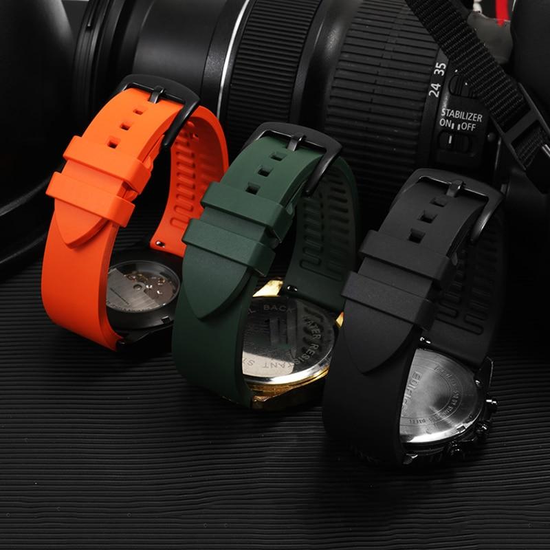 Ремешок для часов из флюоровой резины, водонепроницаемый пыленепроницаемый браслет для наручных часов, черный зеленый синий, для каждого б...