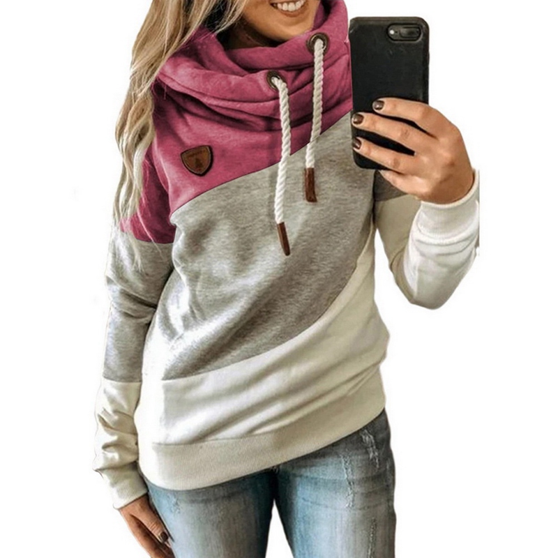 2020 Women  Autumn Winter  Gradient Patchwork Hooded Sweatshirt Women Drawstring Long Sleeve Harajuku  Pocket Hoodie Tops 23