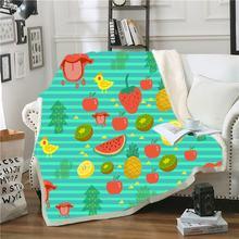 Мультяшное шерпа одеяло клубника/арбуз/яблоко плед летнее зимнее