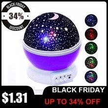 LED מסתובב לילה אור מקרן כוכבים שמיים כוכבים מאסטר ילדי ילדים שינה רומנטי LED USB מקרן מנורת ילד מתנות