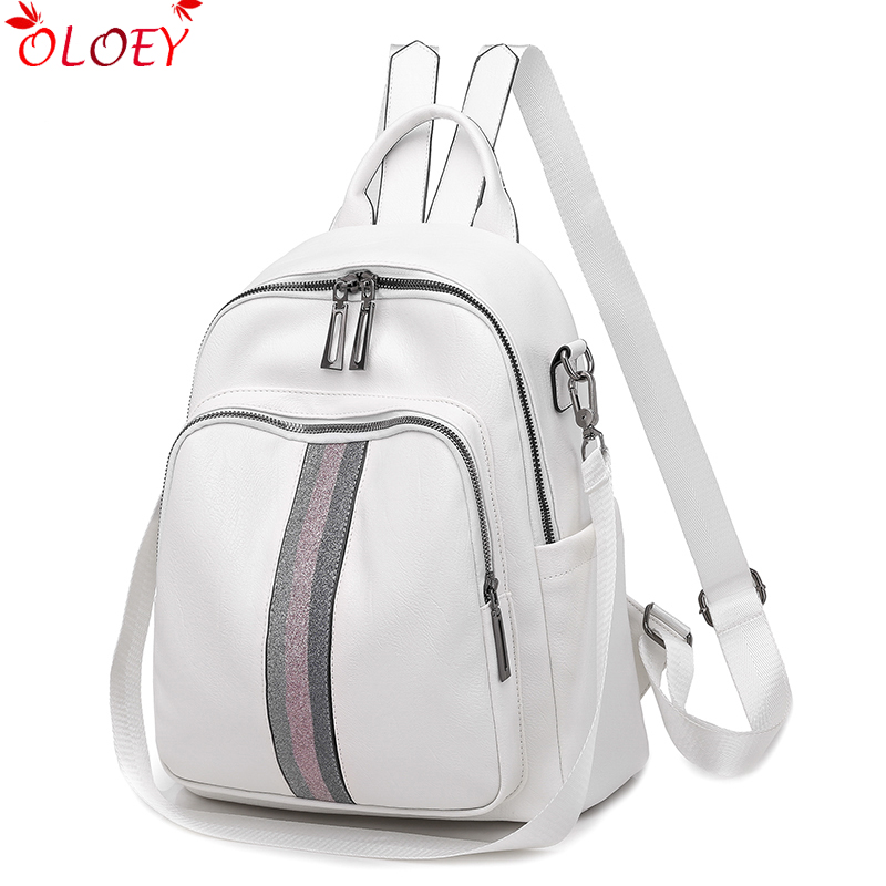 Backpack 2019 New Luxury Brand Ribbon PU Leather Quality Bag College Style Young Student Bag White Famous Designer Hot Sale