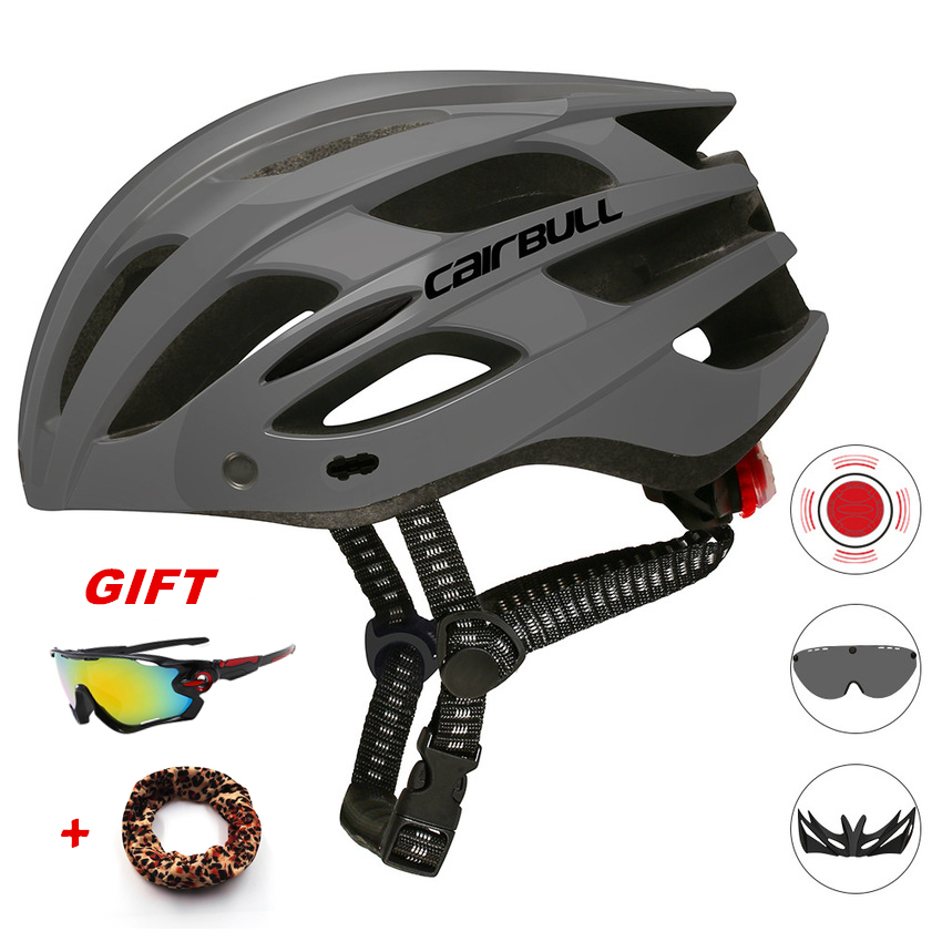 HOT Ultralight Cycling Helmet With Removable Visor Goggles Bicycle Taillight Intergrally-molded Mountain Road Bike MTB Helmets