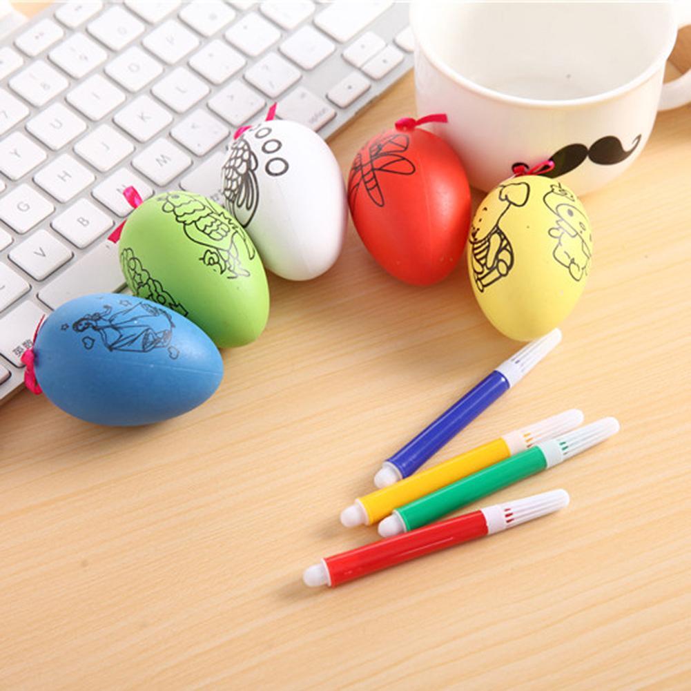 5Pcs Cute Easter Egg Water Color Pens Kids DIY Painting Educational Toys Festival Decor Child Kids Gift Decoration Plastic Egg