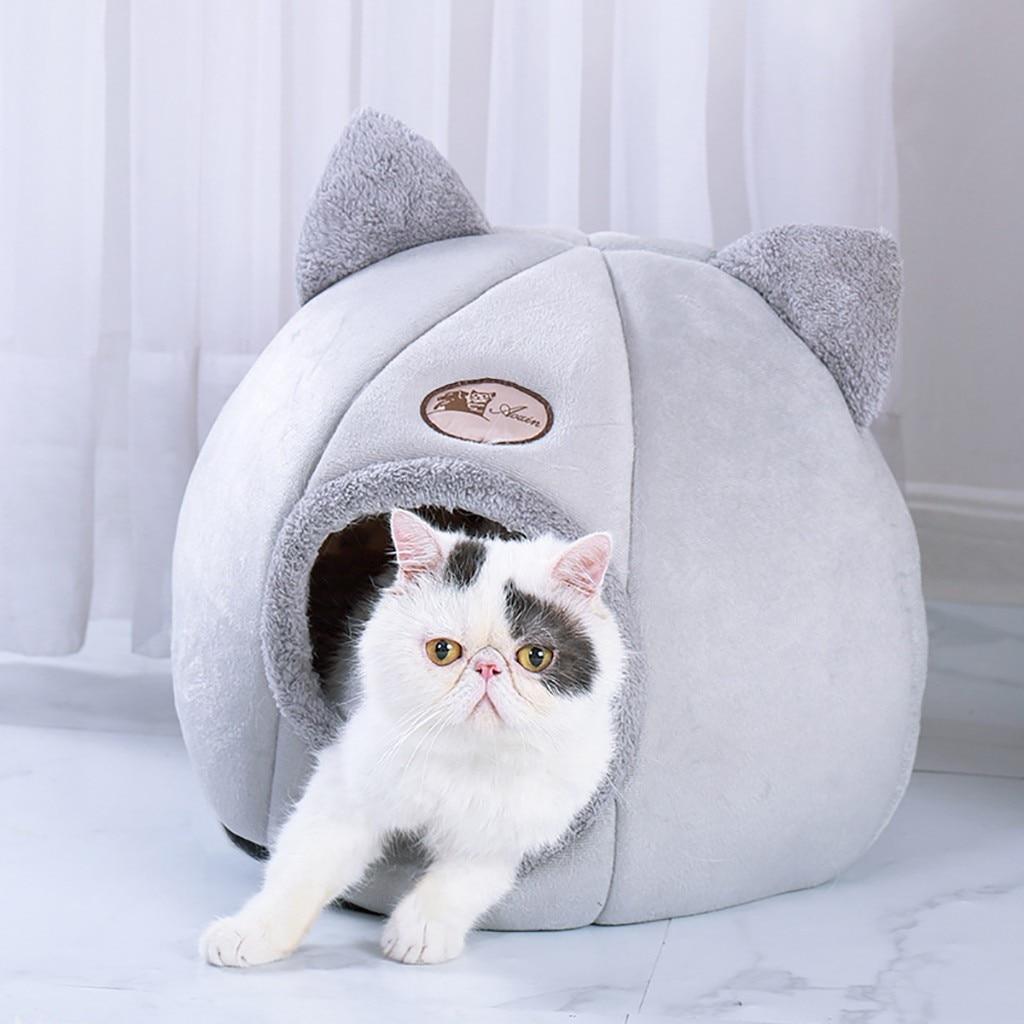 Домик для кошек и кошек, домик для кошек и собак, теплый зимний Мягкий складной коврик для сна, хлопковая кровать для маленьких собак и кошек,...