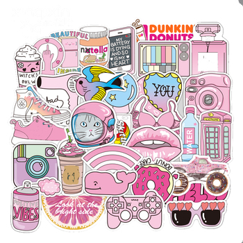 50pcs/Pack Mini PVC Waterproof Pink Girls Fun Sticker Toys for Children For Moto Car & Suitcase Cool Fashion Laptop Stickers - discount item  20% OFF Classic Toys