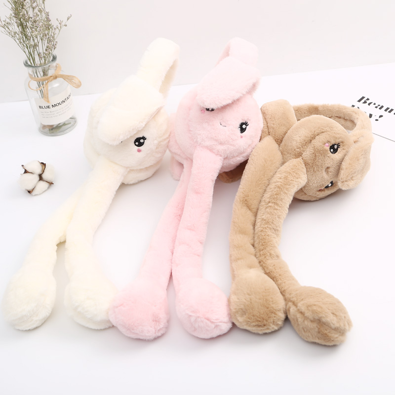 New Child Girl Cute Cartoon Pet Rabbit Airbag Earmuffs Vibrato Explosion Women Boy Child Thick Warm Faux Fur Earmuffs Windproof