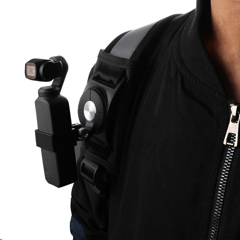 360 graus de rotação mochila/saco braçadeira clipe cinto para dji osmo bolso liberação rápida suporte adaptador sjcam gopro acessório