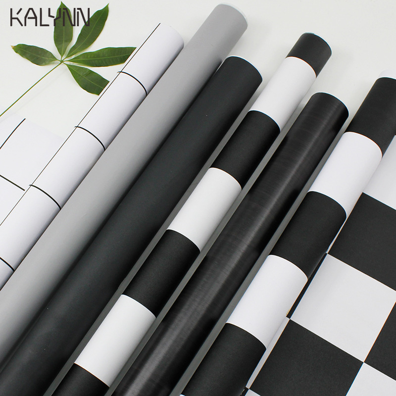 Striped Wallpaper Diy For Living Room Bedroom Wall Black White Checkered Home Decor Sticker Kitchen Self-Adhesive Wallpaper Roll