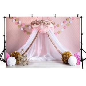 Image 3 - Avezano Princess House Tent Photography Background Pink Polka Dots Flower Girl Birthday Portrait Backdrop Photo Studio Photocall