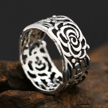 925 sterling Thai silver Men Women Wedding Hollow Peony Tail Ring Gift Fashion jewelry Flower Ring hongclub 2017 new s990 sterling silver ring men jewelry magpie flower wedding brand ring women gift fine jewelry wholesale r18