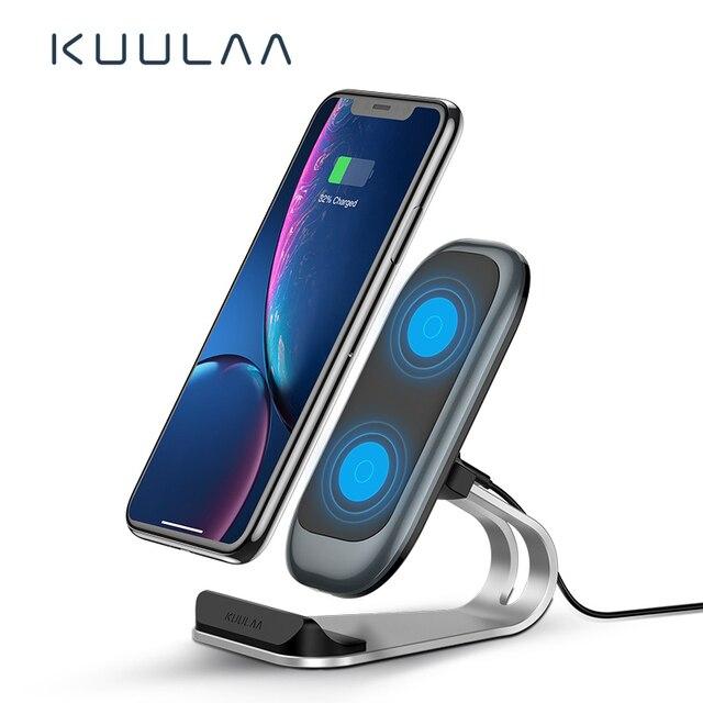 Bezprzewodowa ładowarka KUULAA Qi 10W dla iPhone X XS 8 XR Samsung S9 Xiaomi szybka bezprzewodowa ładowarka stacja dokująca uchwyt telefonu ładowarka