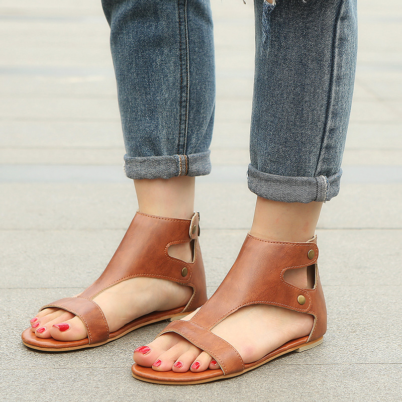 New Women's Sandals Hot Fashion Women High-top Summer Beach Roman Sandal Ladies Open Toe Flat Sandal Casual Female Shoes