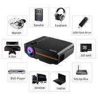 Ocday portátil 800x480 pixel hdmi 1200lm longa vida ajustável multi media de cinema em casa lcd imagem hd led projetor digital      -