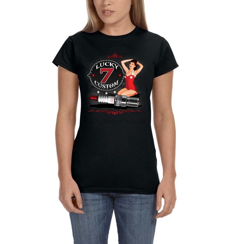 Lucky 13 t shirt women Bubble Dancer Burlesque Pin Up Girl Hot Rod Tattoo