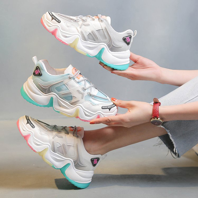 Outdoor Fashion Ladies Sneakers Height Increasing Women's Vulcanize Shoes Breathable Rainbow Color Fashion Woman Sneakers