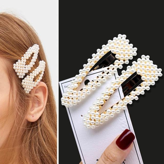 1Set Handmade Pearls Hair Clips Pin for Women Fashion Geometric Flower Barrettes Headwear Girls Sweet Hairpins Hair Accessorie 5