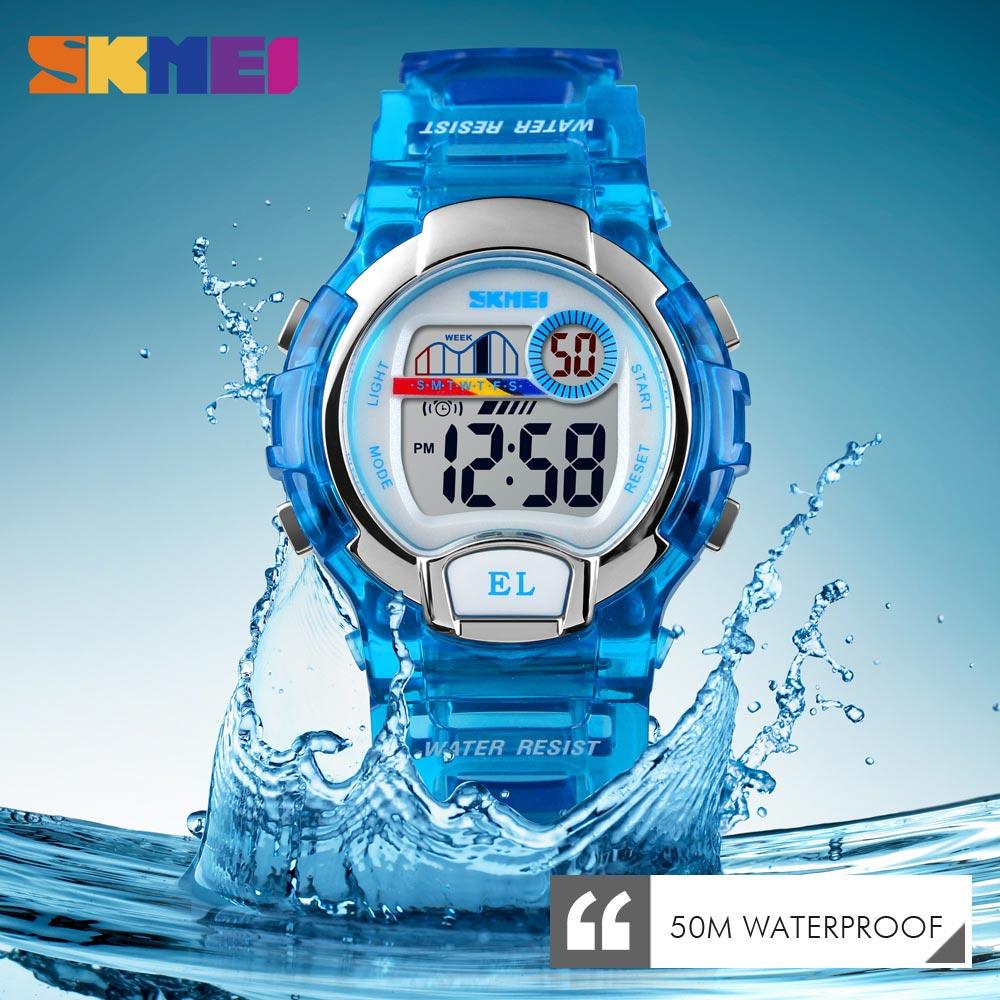 Swim SKMEI Sport Kids Watch Girls Student Waterproof Alarm Clock Stopwatch Timing Watch LED Luminous Digital Children's Watch