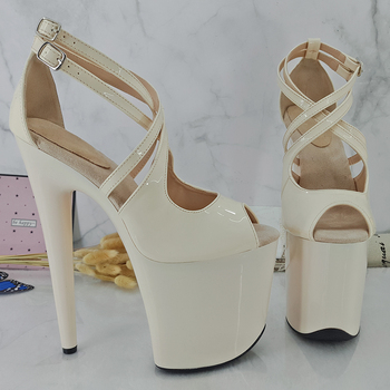 Leecabe 20CM/8Inch Women's Platform Sandals  party High Heels Shoes Pole Dancing Shoes