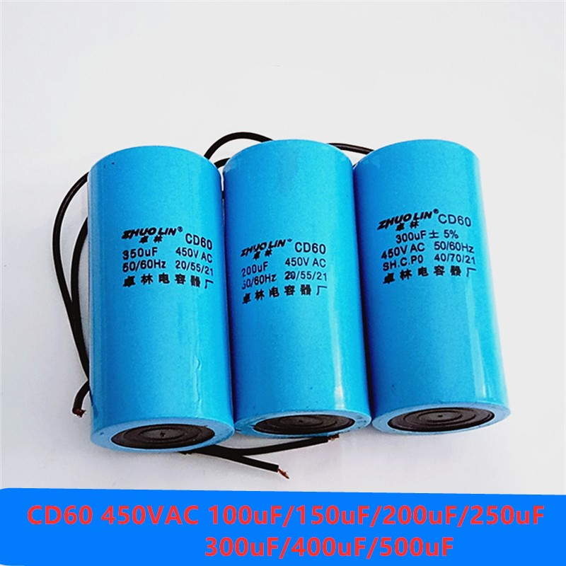 AC Water pump startup capacitor Motor Capacitor Start Capacitor CD60 450VAC 100uF/150uF/200uF/250uF/300uF/400uF/500uF