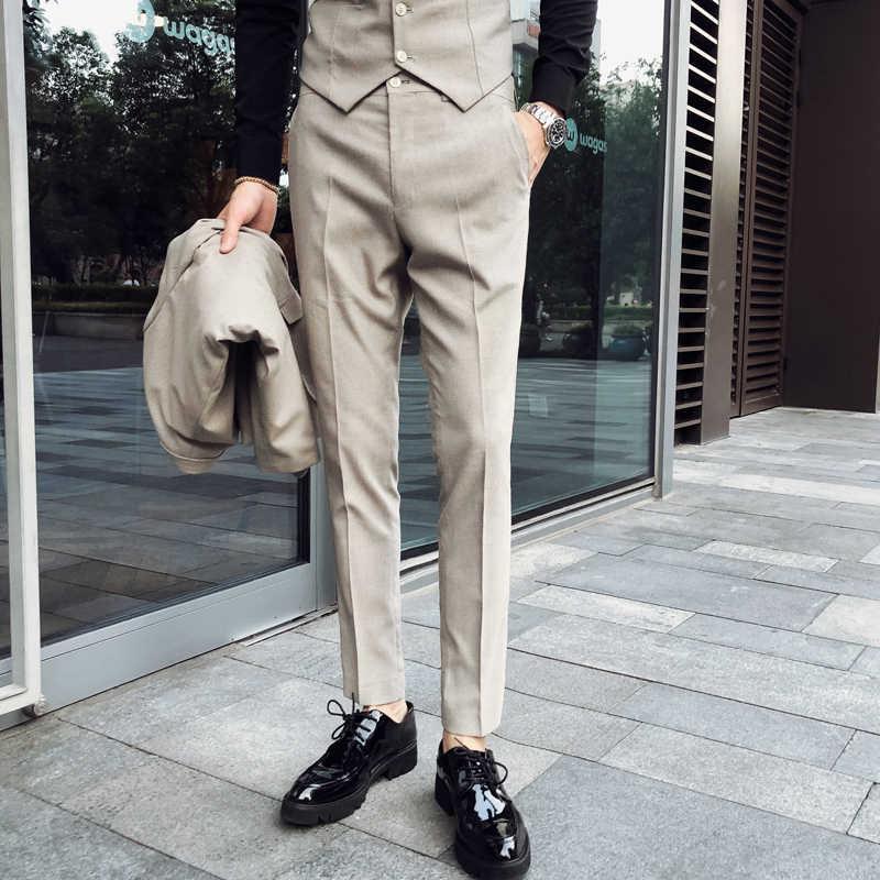 Pantalones De Vestir De Primavera Para Hombre Pantalones De Corte Slim Fit Color Albaricoque Gris Pantalones Sociales Para Hombre Pantalones De Traje Masculino Pantalones Formales Para Hombre Pantalones Informales Aliexpress