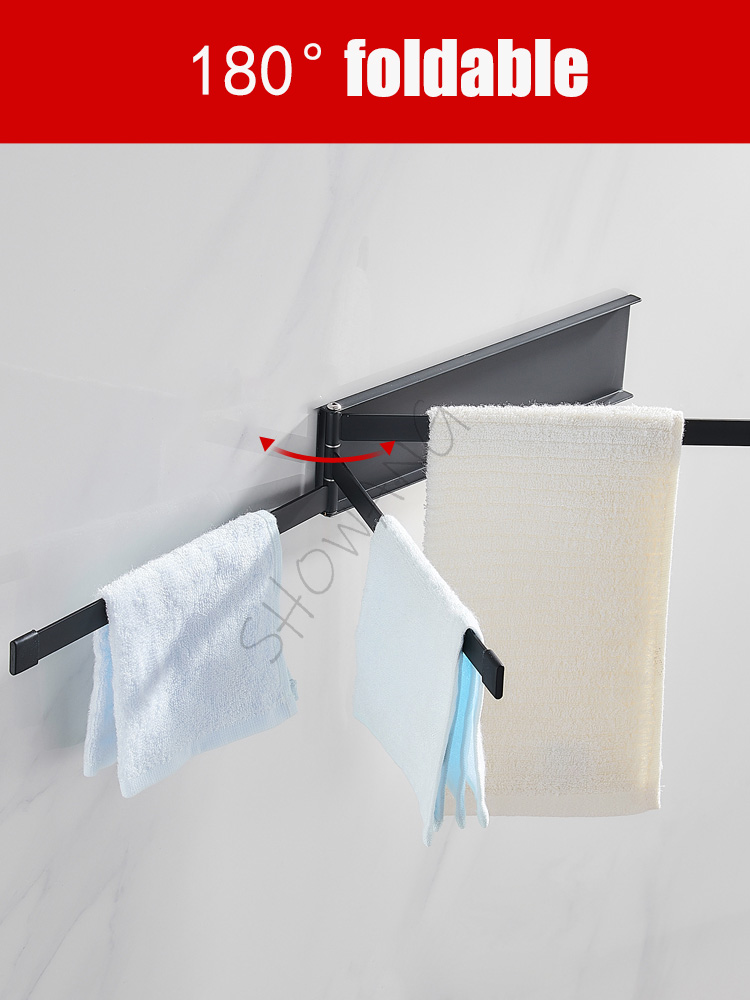 Free punch towel rack black simple folding rotating activity wrought iron bathroom pendant towel bar   towel hanger showang