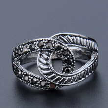 Vintage Rings Antique Silver Color Black Crystal Circle Cocktail Ring Jewelry For Women Girls US Size 7 8 9 Wholesale stars pattern double layer titanium steel couple rings black silver golden us size 9 7