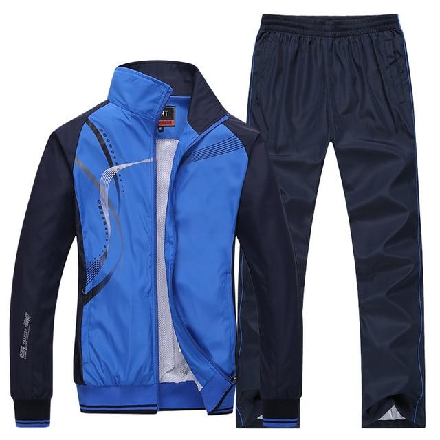 Men's Sportswear Set Spring Autumn Print Tracksuit Men 2 Piece Sets Jacket+Pant Sweatsuit Casual Sporting Outerwear Clothing 4