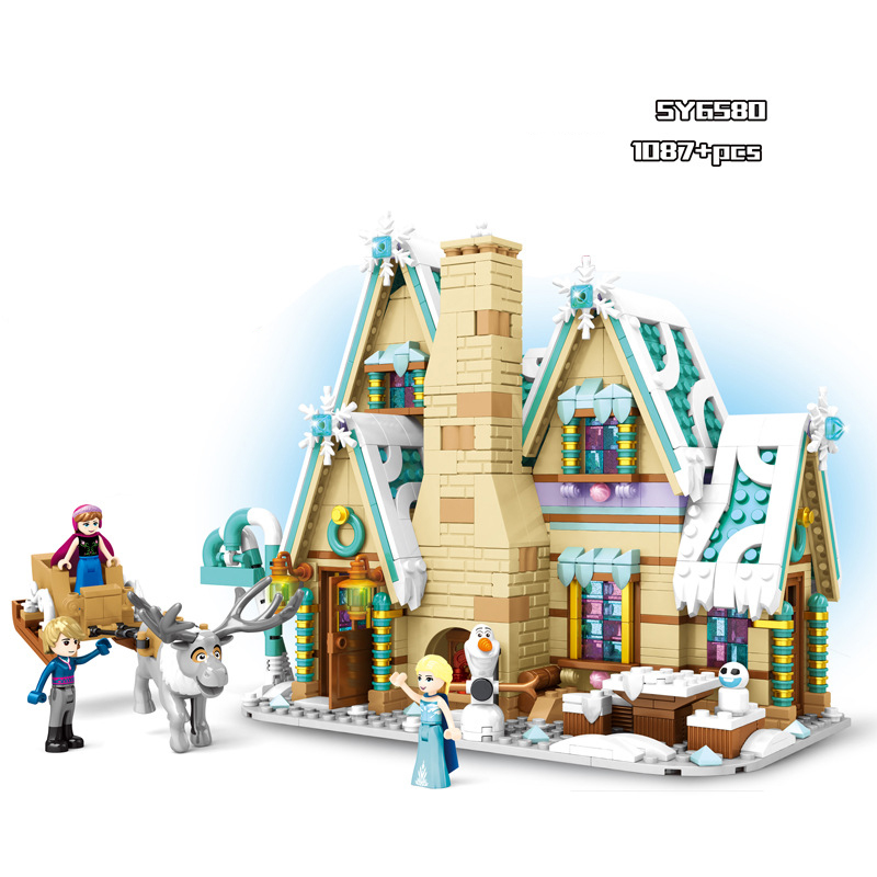 Hot Fairy tale princess Snow queen ice house building block Elsa And Anna olaf Kristoff figures Castle bricks toys for girls