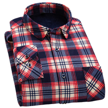 Mens Plaid Long Sleeve Shirt 2019 Autumn and Winter Thicken Plus Velvet Warm Fashion Thick Casual / size 6XL