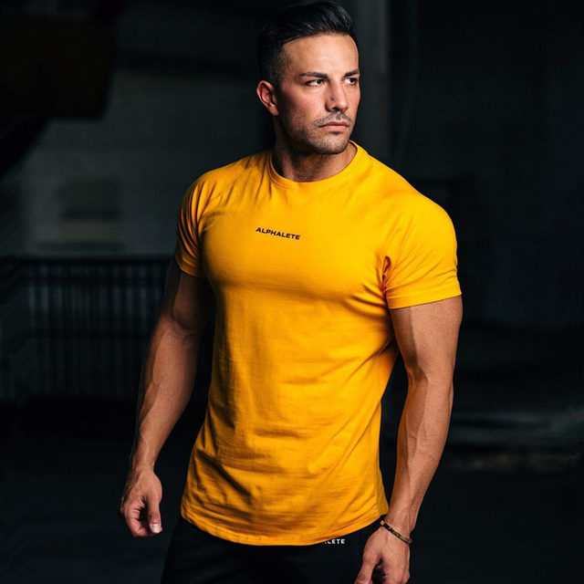 Gym Cotton t shirt Men Fitness Workout Skinny Short sleeve T-shirt Male Bodybuilding Sport Tee shirt Tops Summer Casual Clothing