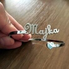 Bangles Nameplate Bracelet Jewelry Custom Stainless-Steel Heart-Name Personalized Women