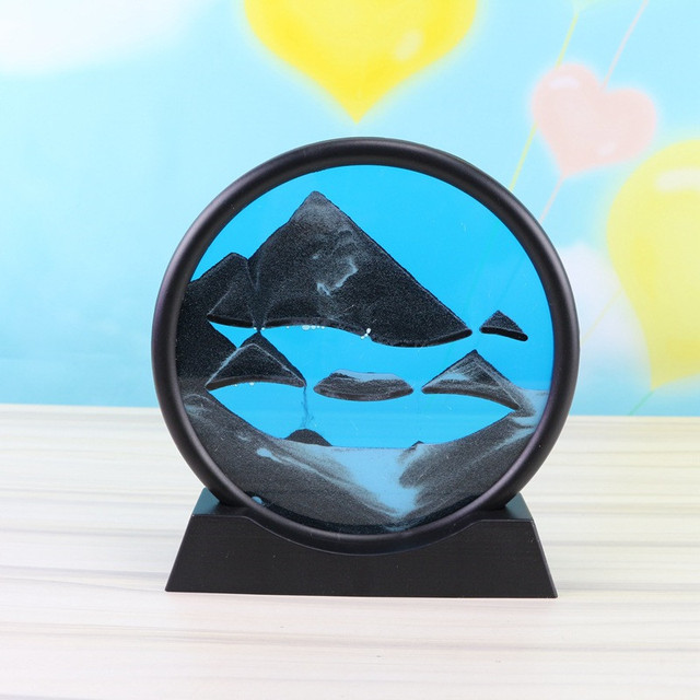 Creative 3D Hourglass with Shelf Deep Sea Sandscape Quicksand Painting Moving Sand Art Picture Home Decor Desk Decorations 1