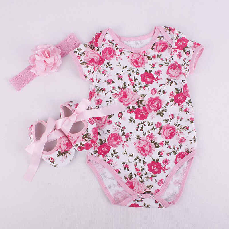 Summer 3Pcs Newborn Baby Girl Romper Jumpsuit Shoe Hairband Floral Leopard Outfits Set Baby Girl Clothes