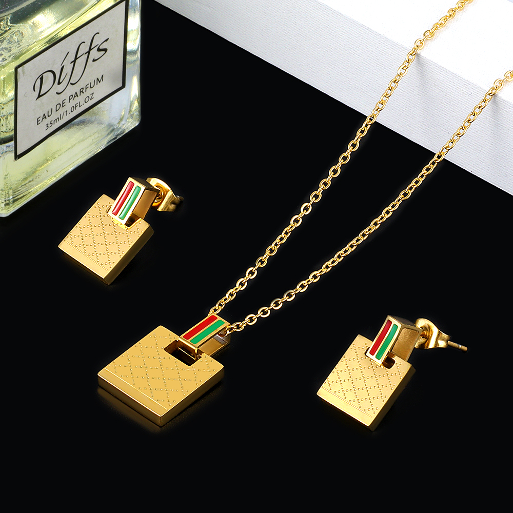 Wholesale Famous Brand Jewelry Sets Rectangle Square Pattern Wedding Bridal Jewelry Sets Stainless Steel Jewelry Sets For Women