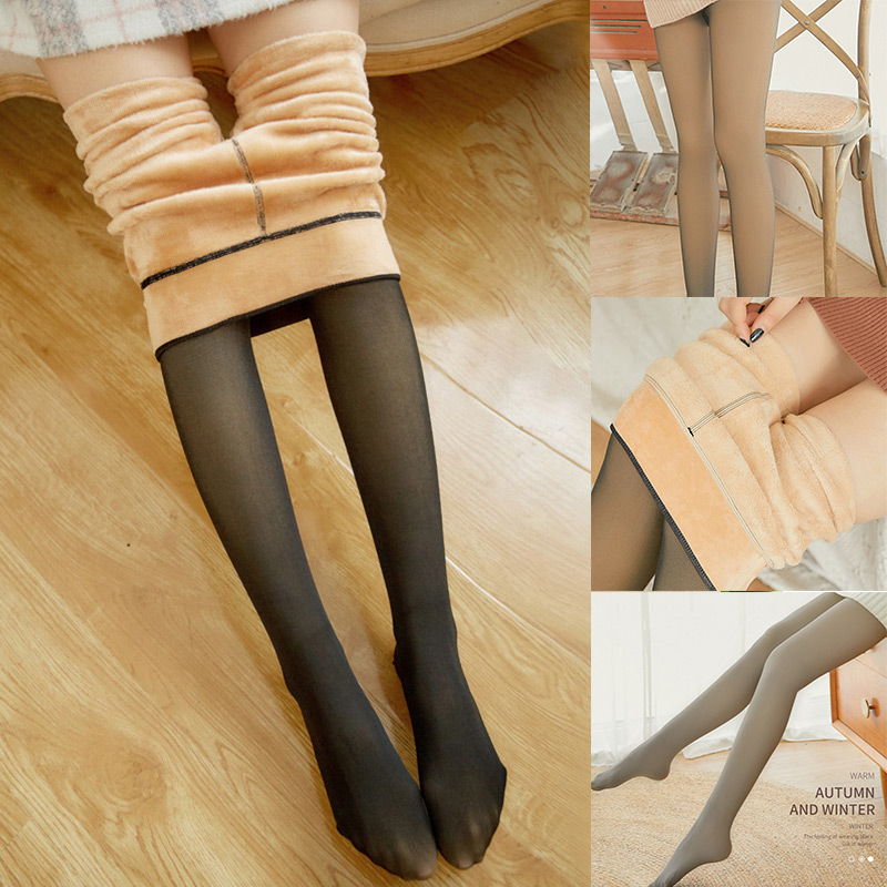 Leggings Women Legs Fake Translucent Warm Plus Fleece Pantyhose Slim Stretchy Perfect Match Pantyhose For Winter Outdoor