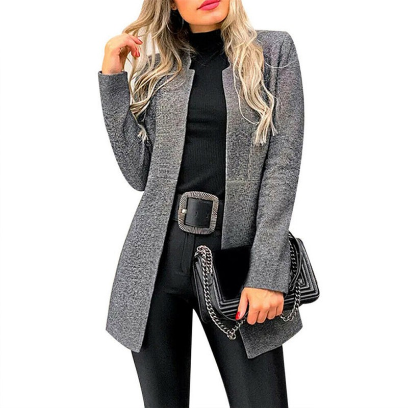 Autumn Office Lady Long Slim Blazers Suit Women Stand Collar Blazer Coat Casual Solid Long Sleeve Female Business Suit 2019