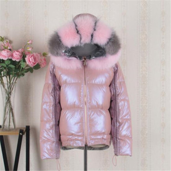 Real Fur Coat Natural Fox Fur Collar 2020 Winter Jacket Women Loose Short Down Coat White Duck Down Jacket Thick Warm Down Parka image