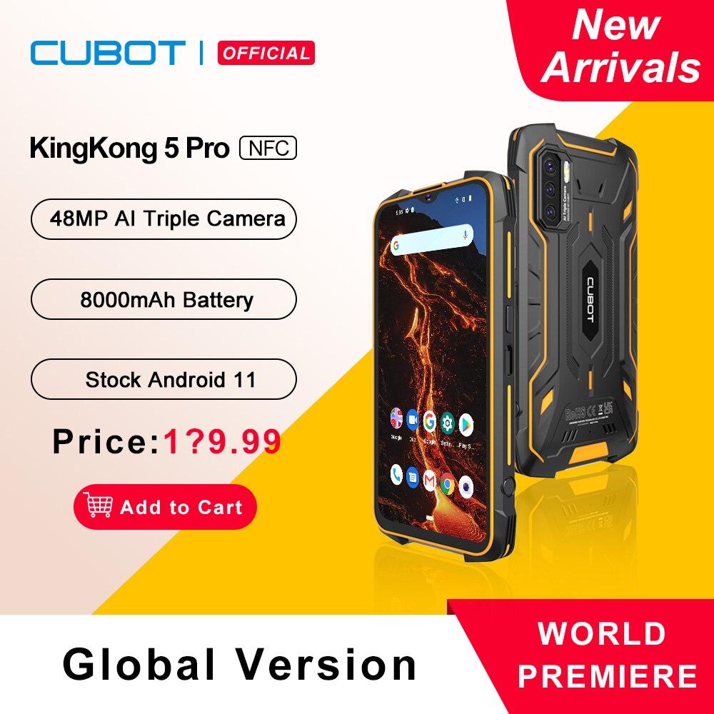 Cubot KingKong 5 Pro Защищенный смартфон 2021 Android 11 Водонепроницаемый IP68/IP69K/MIL STD 810 Большая батарея 8000мАч 4ГБ+64ГБ 48МП Тройная камера Глобальная 4G LTE Две SIM карты NFC GPS/ГЛОНАСС/Beidou OTG Телефон|Смартфоны|   | АлиЭкспресс