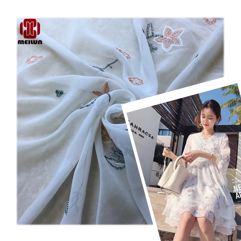 Quintal Tecido De Chiffon Seda Tridimensional Bordado Malha Tecido Branco Tecido De Renda Macia Tecido De Vestuário Artesanal Di