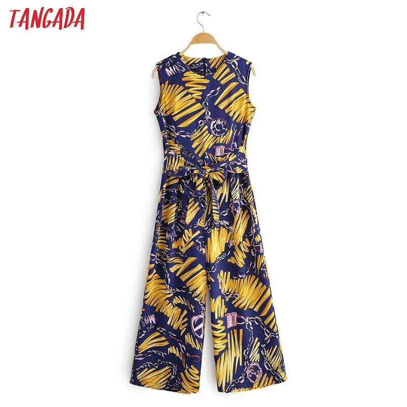 Tangada Women Summer Chain Print Long Jumpsuit Sleeveless O Neck Female Holiday Beach Jumpsuit With Slash 1F82