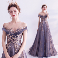 Purple Evening Dress A line O neck Tulle Beaded Crystal Sequins Luxury 2020 New Design Party Dresses Evening Gowns JA19