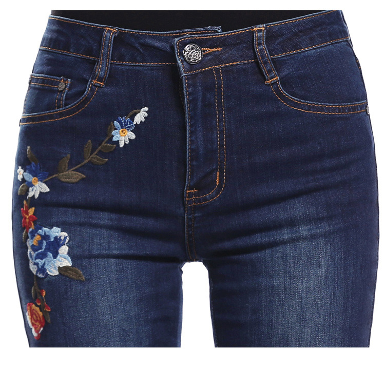 KSTUN FERZIGE Women Jeans High Waist Flare Pants Embroidered Florals Dark Blue Stretch Famous Brand Mom Jeans Trousers Femme Jeans 16