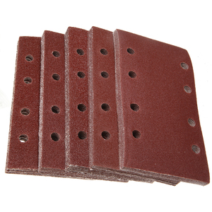 Image 4 - 50pcs 8 Holes Sand Paper Sheets Rectangle Brown Sandpaper for Polishing Swing Grinder 40 120 Grit Orbital Sanders Tools 93*185mm