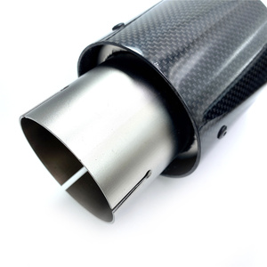 Image 5 - 1PCS Car Exhaust Tail Pipe Glossy Carbon Fiber Sandblasting Stainless Steel Straight Flange Muffler Tip With Remus Logo