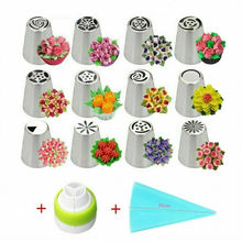 14PCS/Set Russian Stainless Pastry Tips Fondant Cake Decor Icing Piping Nozzles sophronia 90pcs set pastry nozzles and korean style stainless steel pastry piping nozzles tips russian tulip set cs096